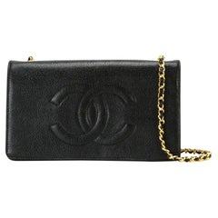Chanel Vintage 90's Woc Wallet On A Chain Black Calfskin Leather Cross Body Bag