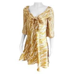 Mixed Pearls Print Silk Boho Dress FLORA KUNG
