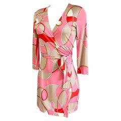 Silk Jersey Pink Beige wrap dress FLORA KUNG
