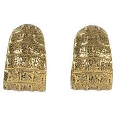 Yves Saint Laurent YSL Crocodile Pattern Hoop Clip Earrings