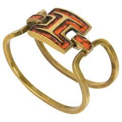 French Designer St Luc Modernist Bronze and Orange Enamel Clamper Bracelet