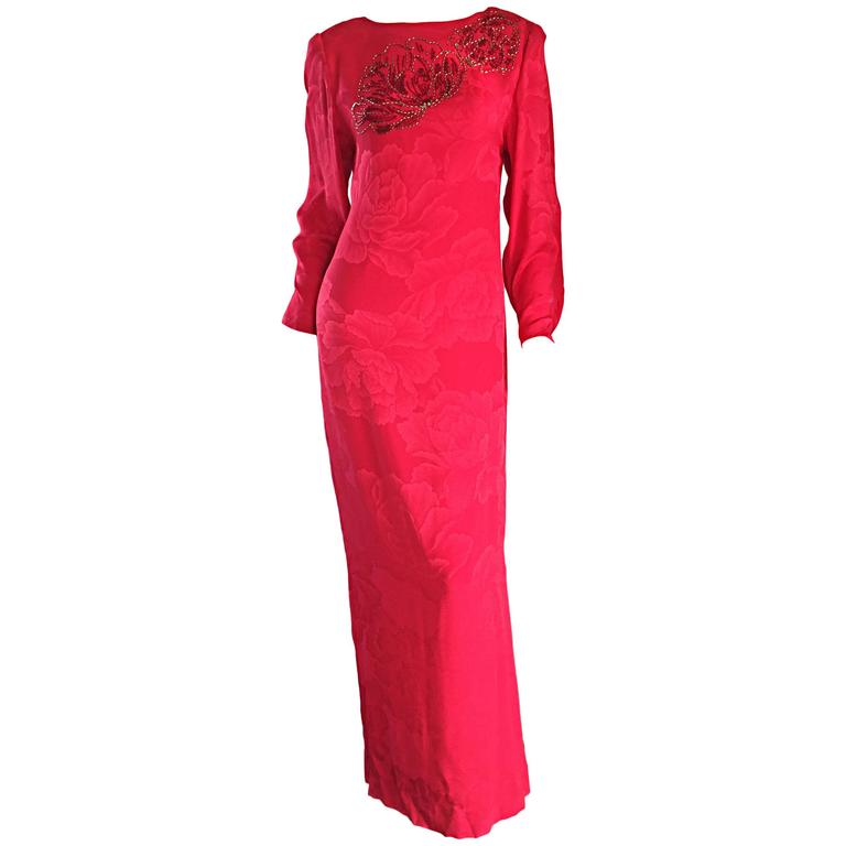 Beautiful Vintage Hanae Mori Lipstick Red Silk Beaded Floral Dress / Gown For Sale