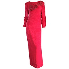 Beautiful Vintage Hanae Mori Lipstick Red Silk Beaded Floral Dress / Gown