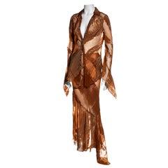 Jean Paul Gaultier clay organza bias cut maxi skirt and blouse set, ss 2002