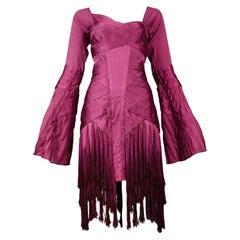 Stunning Gucci By Tom Ford Magenta Tassel Runway Dress 2004