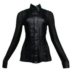 Jitrois Black Leather And Sheer Tuxedo Shirt