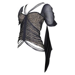 Hussein Chalayan Grey Floral Lace Bustier With Sheer Chiffon Drape Panel