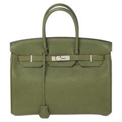 Hermes Vert Pelouse Togo Leather Palladium Finished Birkin 35 Bag