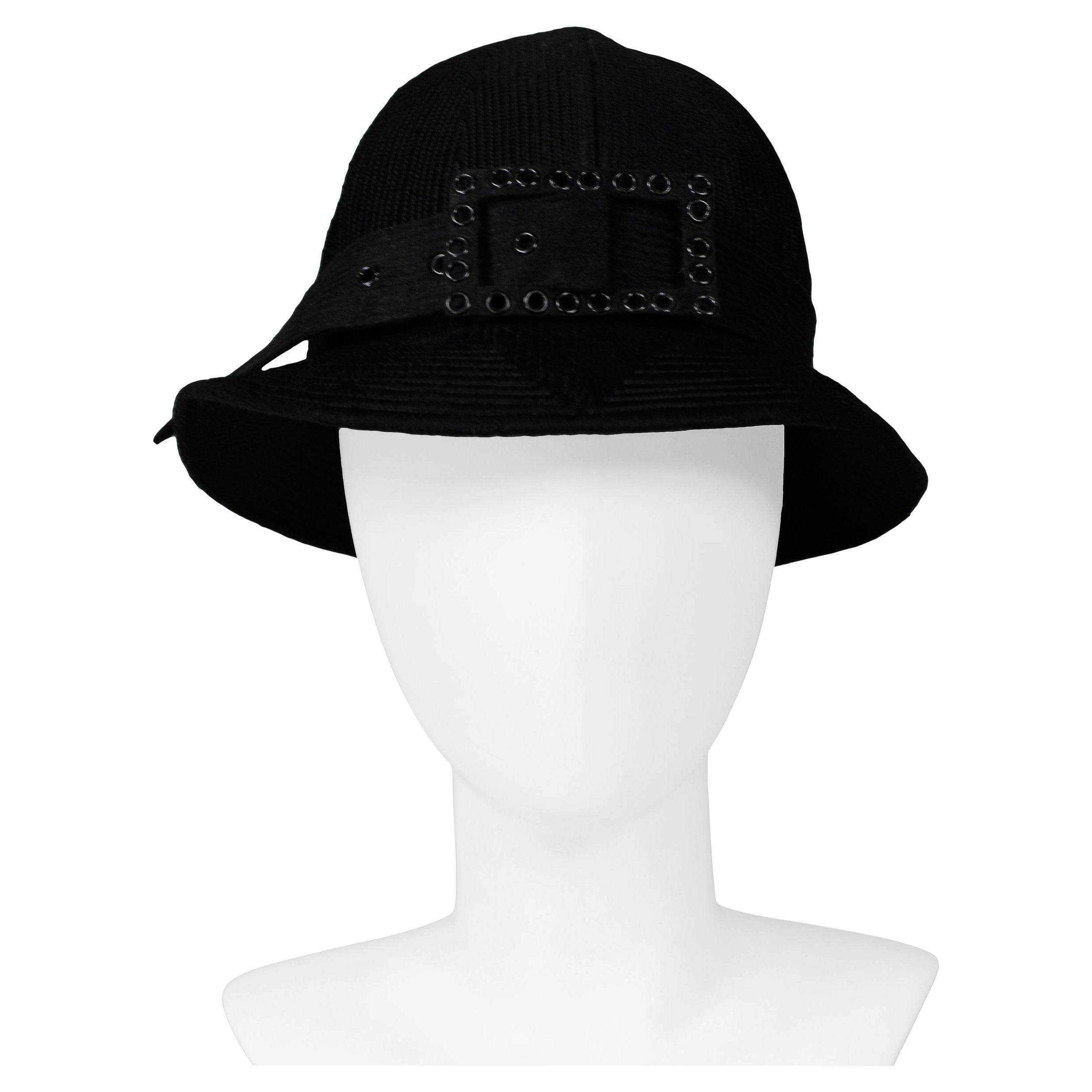 James Galanos Fancy Black Buckle Hat