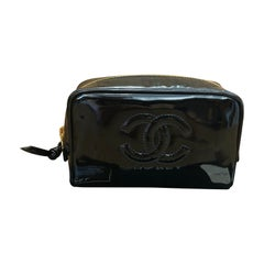 CHANEL Black Patent Leather Cosmetic Pouch Clutch Bag (Unused with Tag)