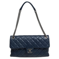 Chanel Navy Blue Quilted Leather 31 Rue Cambon Flap Bag