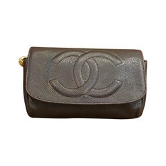 1990s CHANEL Dark Brown Caviar Cosmetic Pouch Clutch Bag