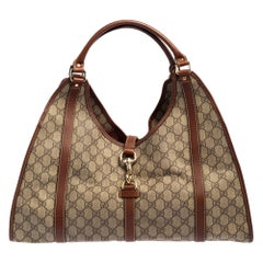 Gucci Beige/Brown GG Supreme Canvas and Leather Large Joy Tote