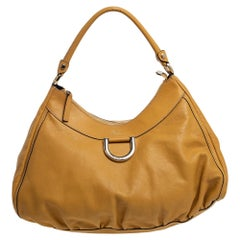 Gucci Mustard Yellow Leather Large D-Ring Hobo