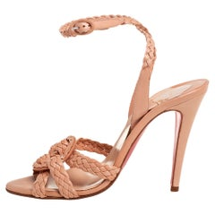 Christian Louboutin Beige Leather Woven Leather Sandals Size 40