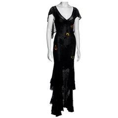 Christian Dior by John Galliano black crochet maxi dress, fw 2001