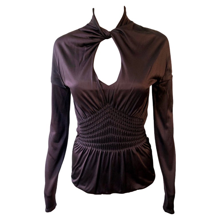 Gucci by Tom Ford Keyhole Cutout Blouse Top For Sale