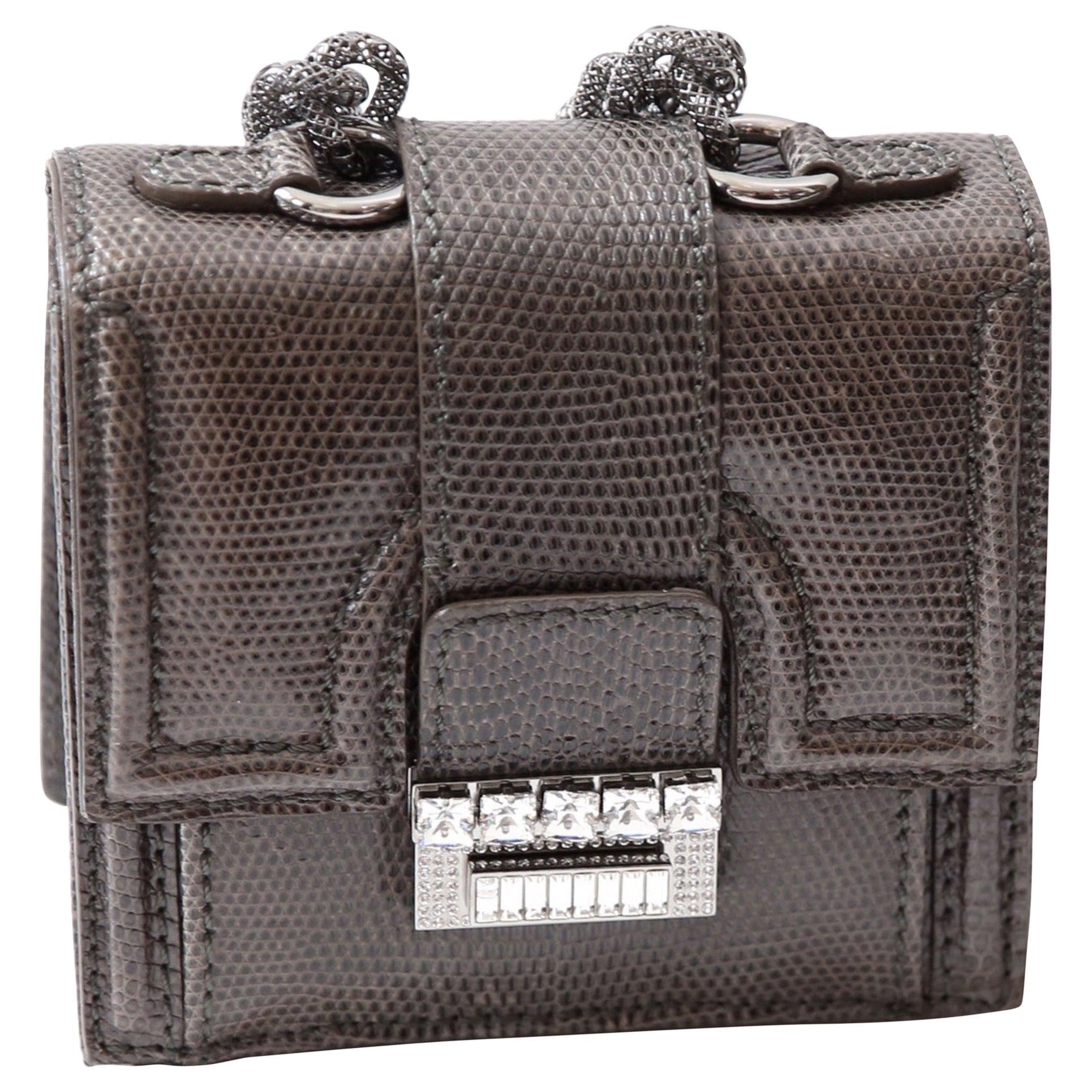 Valentino vintage mini crystal embellished lizard chain wristlet clutch bag