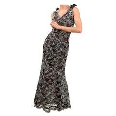 Oscar de la Renta vintage black white lace floral embroidered gown maxi dress