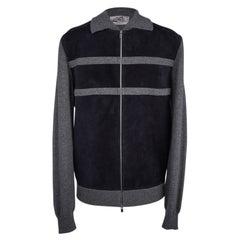 Hermes Men's Cardigan / Jacket Zip Bleu Marine Suede/ Gray Cashmere M New