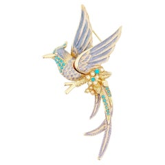 Pastel Bird of Paradise Brooch With Turquoise Accents By Nolan Miller, 1990s