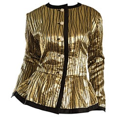 Vintage Yves Saint Laurent YSL Rive Gauche Gold + Black Beautiful Silk Jacket