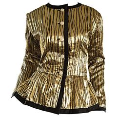 Beautiful Vintage Yves Saint Laurent ' Rive Gauche ' Gold + Black Silk Jacket