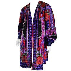 Vintage Diane Freis Colorful Silk Boho Floral Open Front Kimono Jacket