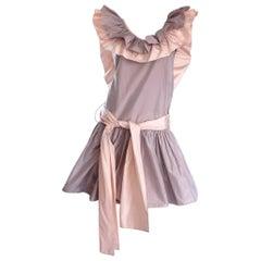 Chris Van Wyk Vintage 1980s Lavender + Pink Silk Taffeta Avant Garde 80s Dress