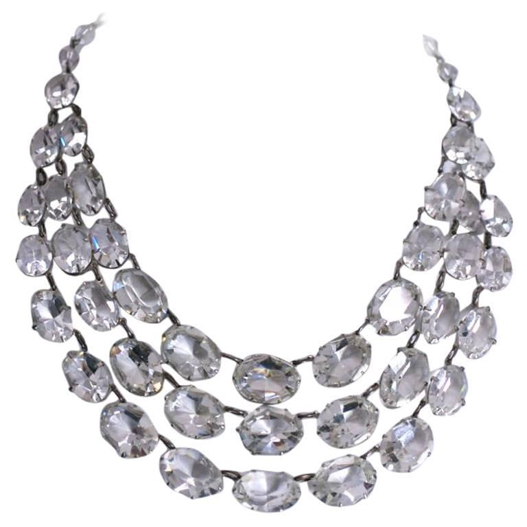 Dramatic Art Deco Crystal Bib Necklace 1