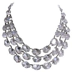 Dramatic Art Deco Crystal Bib Necklace