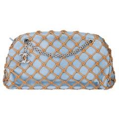 2011 Chanel Light Blue Denim & Brown Rope Canebier Just Mademoiselle Bowling Bag