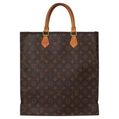 2002 Louis Vuitton Brown Monogram Coated Canvas & Vachetta Leather Sac Plat