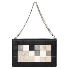 2008 Chanel Chanel Black, White, Beige, Gold & Bronze Quilted Lambskin Wristlet