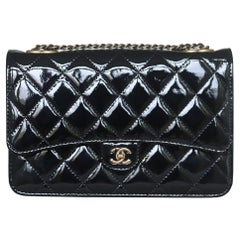 Chanel Quilted Patent Leather Wallet On Chain Crossbody Bag