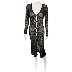D&G by Dolce & Gabbana 1990's Vintage Sheer Knit Crochet Black Dress