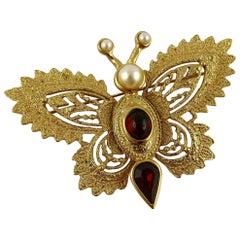 Yves Saint Laurent YSL Vintage Jewelled Butterfly Brooch