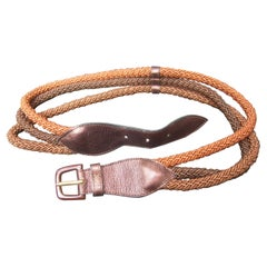 Yves Saint Laurent Paris Metallic Brown Leather Rope Belt c 1980s