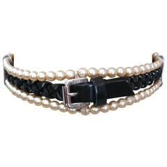 Christian Dior by John Galliano Pearl and Leather Collier de Chien Choker