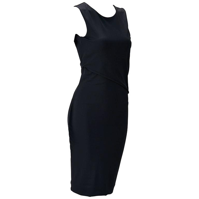 2011 Gucci Asymmetrical Open Back Black Knit Dress
