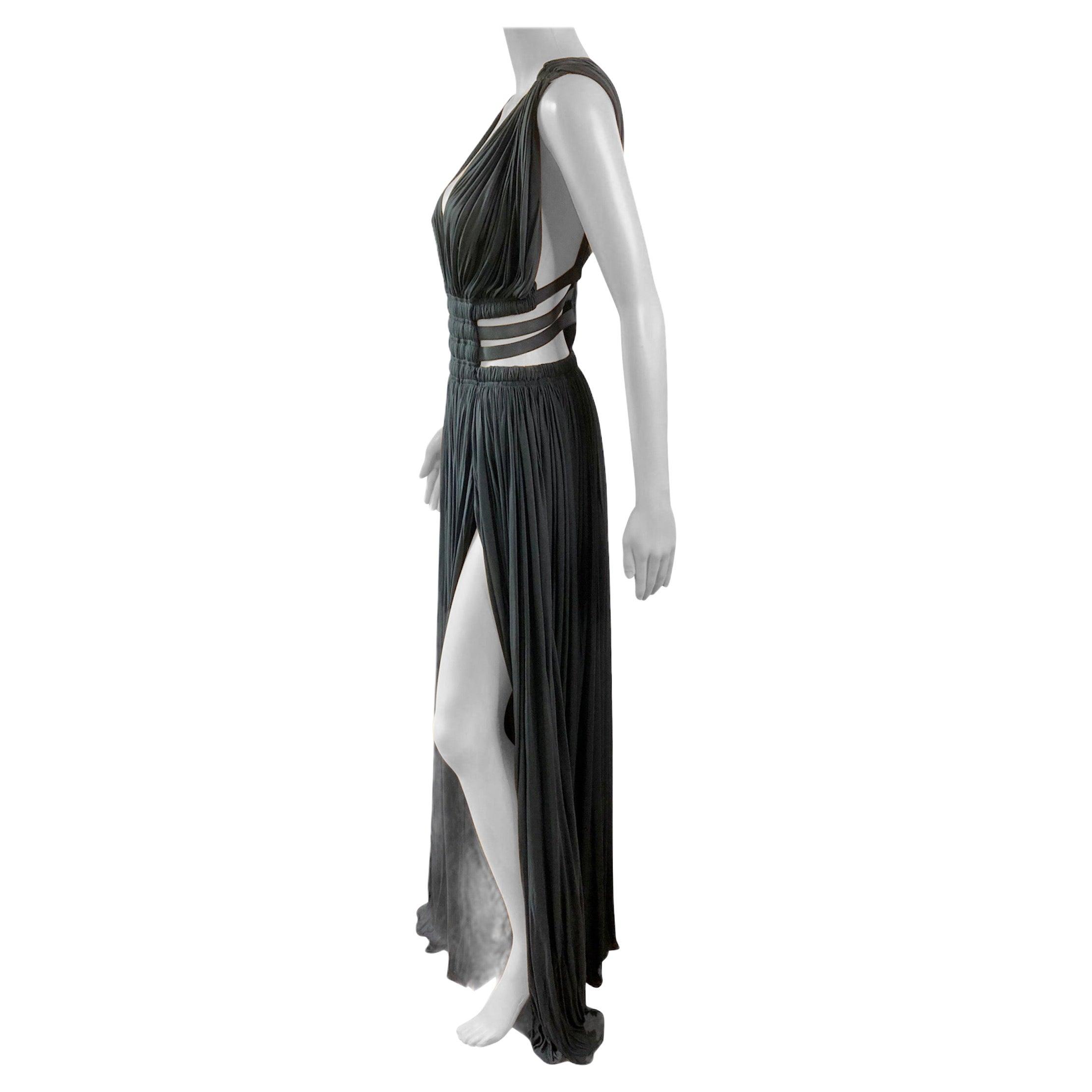 Azzedine Alaïa c.2004 Semi-Sheer Cutout Ruched Slits Gown Maxi Evening Dress