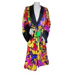 Pop Art Print Luxe Silk Satin Kimono NWT Flora Kung