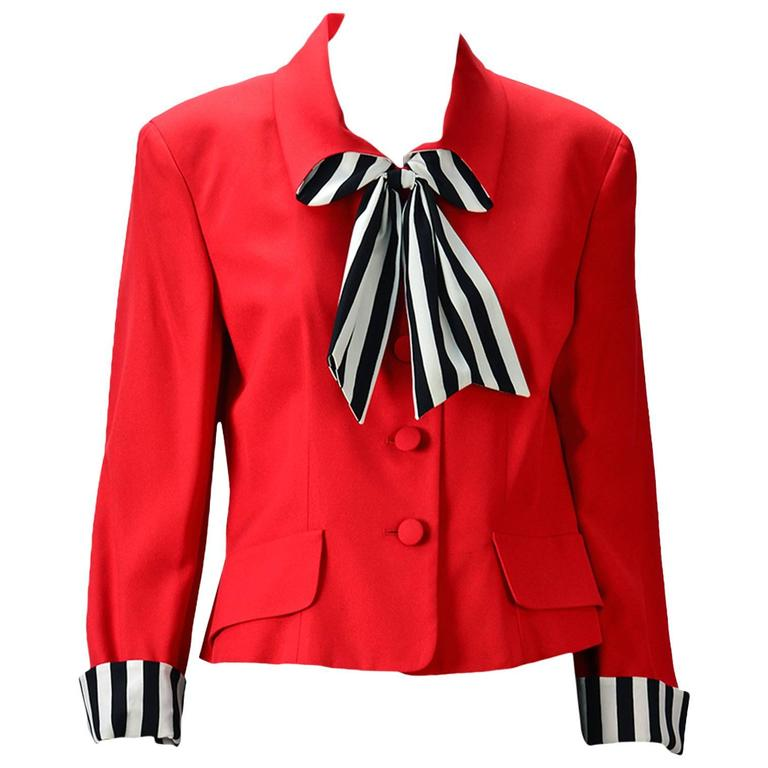 "Moschino ""Cheap and Chic""  Red Blazer with Black/White Striped Bow  1"