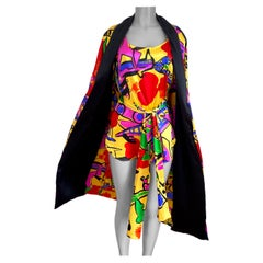 Flora Kung Pop Art Mini Silk Dress