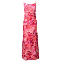 1964 Helga Salmon Pink Silk Satin Evening Gown with Velvet Flowers