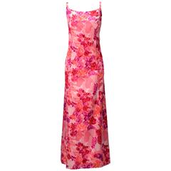 1964 Salmon Pink Satin Evening Gown with Velvet Flowers
