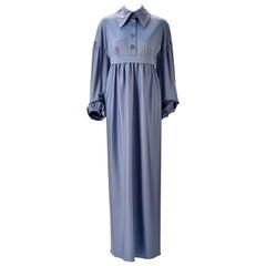Jean Varon Periwinkle Blue Long Sleeve Dress, 1970s