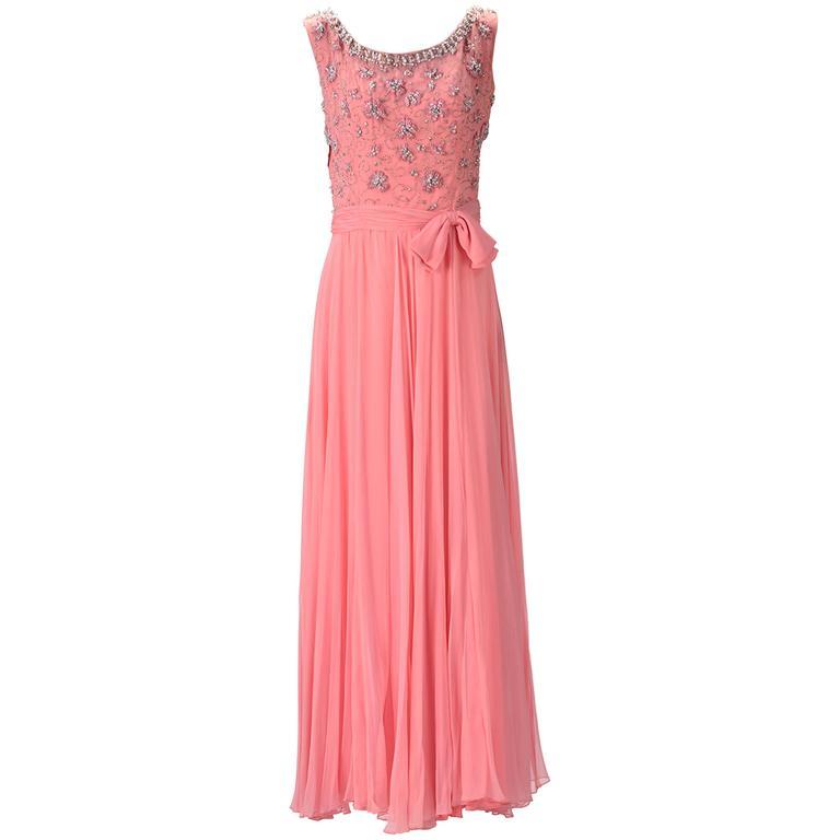 1960s Pink Chiffon Beaded Dress