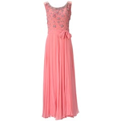 1960s Pink Chiffon Beaded Dress
