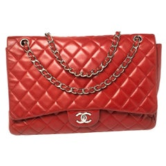 Chanel Red Quilted Leather Maxi Classic Double Flap Bag